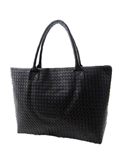 La Vogue Sac à Main Cabas Femme/Fille Simili Cuir Grand Compartiment Torsadé Noir Taille28*42*10cm