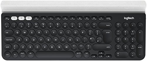 Logitech K780 Multi-Device Wireless Keyboard (für Windows/Mac/Chrome OS/Apple iOS/Android, QWERTY spanisches Tastaturlayout) dunkelgrau/weiß