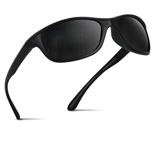 Occffy Polarisierte Sportbrille Sonnenbrille Fahrradbrille mit UV400 Schutz für Herren Autofahren Laufen Radfahren Angeln Golf TR54 (Schwarze Matte Rahmen mit Schwarze Linse)