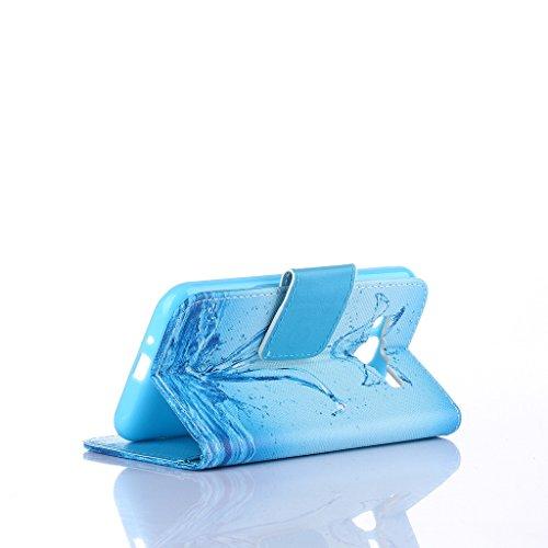 Qimmortal - Custodia a portafoglio in finta pelle, con pellicola proteggi schermo in vetro temperato, modello colorato, con funzione supporto, pieghevole magnetico, con porta carte di credito, per Sam Water