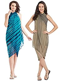 SOURBH Women's Set of 2 Sarongs Swimsuit Cover up Beach Wear Wrap Pareo