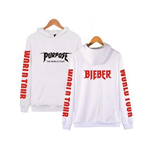 Sunrise-EU Unisex Justin Bieber Hoodie Kaputzenpullover Langarm Pulli Sweatshirt Weiß S