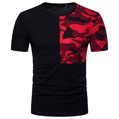 MRULIC Herren Casual Camouflage Print Patchwork O Neck Pullover T-Shirt Top Bluse (M, Schwarz)