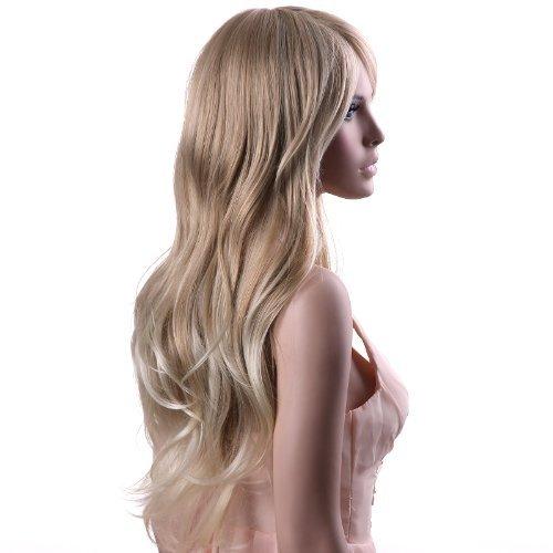 Songmics Perücke Frauen Damen Haar lockige Lang Wig für Karneval Fasching Cosplay Party Kostüm Blond Weiblich WFF076