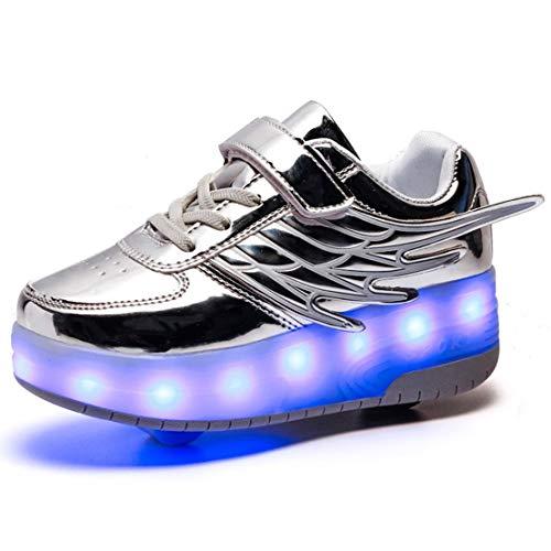 Kinder Schuhe mit Rollen LED Skate Schuhe Roller Skate Shoes Rollen Schuhe Skateboard Schuhe Schuhe mit Rollen Kinder Jungen Mädchen Automatisch Lila 37