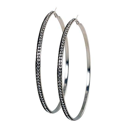 Geralin Gioielli Damen Ohrringe große Creolen Silber Strass 10cm Fashion Ohrhänger Vintage