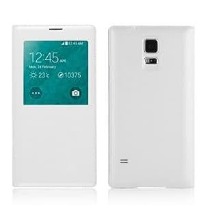 JAMMYLIZARD | Leder Flip Case Hülle für Samsung Galaxy S5 mit S-View Funktion, WEIß