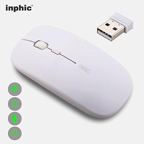 inphic Wiederaufladbare kabellose Maus, Mute Silent Click Mini Geräuschlose optische Mäuse, Ultra Thin 1600 DPI für Notebook, PC, Laptop, Computer, Macbook (Hellweiß)