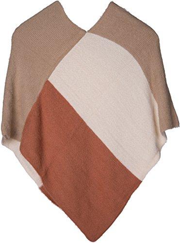 styleBREAKER Feinstrick Poncho mit geometrischem Muster, V-Ausschnitt, Winter, weich und fransig, Damen 08010050 Braun-Creme-Rost