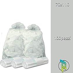 Palucart® Lot de 100 sacs poubelle transparents de 70x 110cm (110l)