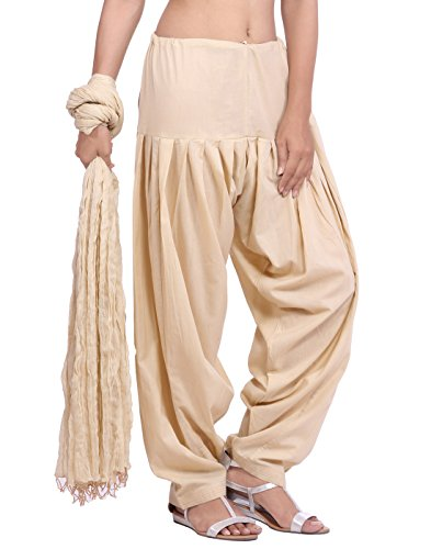 Jaipur Kurti Pure Cotton Patiala Salwar and Dupatta Set (Cream)