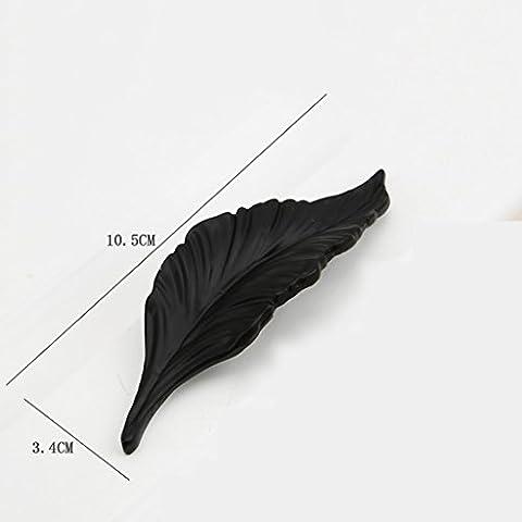 LI JING SHOP- (1 Set Of 2) Black Creative poignée style européen Leaf Blade Armoire Armoire Wardrobe Tiroir Poignée Simple Matte Black Handle ( couleur : Noir , taille : L10.5CM )