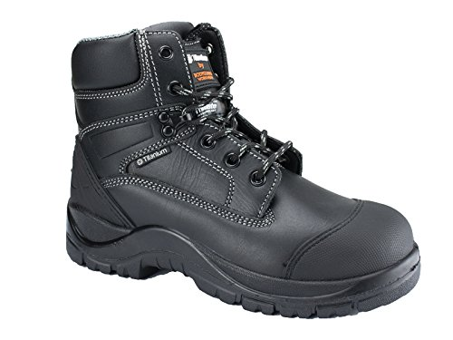 Titanium Leather Safety Working Boots w/Composite Toe Cap & Moulded Scuff Cap, Thinsulate Insulation, Puncture Resistant Midsole, TPU Ankle Support - Constructions (Leder Sicherheitsstiefel) , 44 EU -
