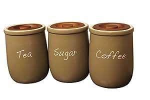 White Window Coffee Tea Sugar Air Tight Jar, 3-Pieces