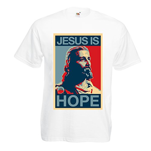 lepni.me Männer T-Shirt Jesus ist Hoffnung! Religion - Auferstehung - christliche Geschenkideen (Large Weiß Mehrfarben)