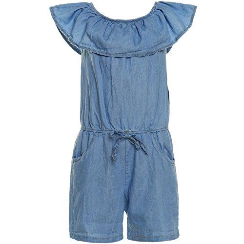 BEZLIT Mädchen Jumpsuit Jeansoptik Overall Einteiler Onesie Body 21283, Farbe:Dunkelblau;Größe:152