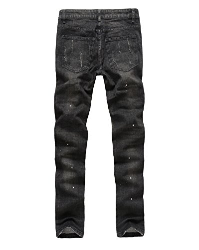Männer Slim Fit Schwarz Stretch Destroyed Jeanshose Denim Jeans Hose Schwarz