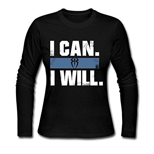 """Cool XJ-Roman Motivational Motto """"I Can I Will Sportstyle-Maglietta da donna, colore: nero nero S"""