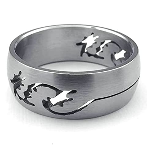 AMDXD Jewelry Stainless Steel Wedding Bands for Men Silver Dragon Shaped 8MM,Size P 1/2