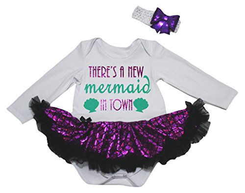 Petitebelle There's A New Mermaid In Town L/s Bodysuit Purple Scale Tutu Nb-18m (0-3 ()