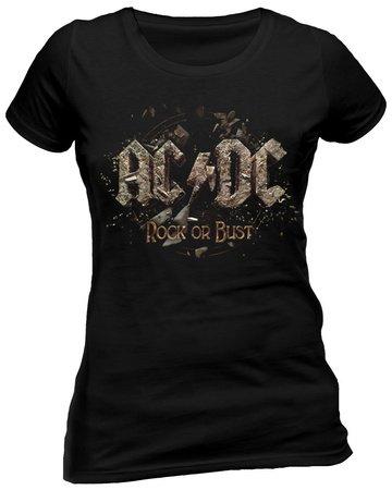 AC/DC da donna in acciaio inox Band T-Shirt - Rock Or busto felpe con cappuccio Nero