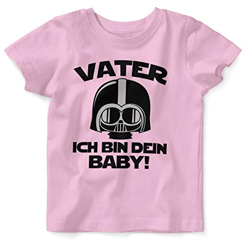 Mikalino Baby/Kinder T-Shirt mit Spruch für Jungen Mädchen Unisex Kurzarm Vater - ich Bin Dein Baby! | handbedruckt in Deutschland | Handmade with Love, Farbe:rosa, Grösse:68/74