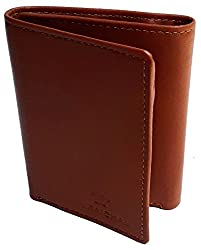 NUKAICHAU Brown Double Fold Mens Leather Wallet