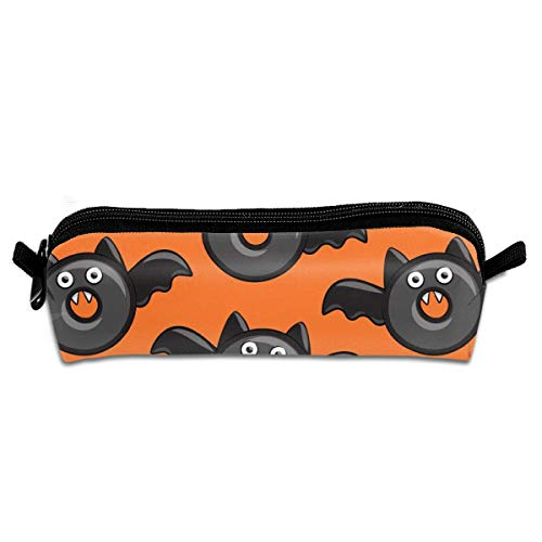 n Donuts On Orange Student Polyester Double Zipper Pen Box Boys Girls Pencil Case Cosmetic Makeup Bag Pouch Stationery Office School Supplies 21 X 5.5 X 5 cm ()