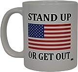 Thorea Taza de café conservadora republicana Bandera de EE. UU. Levántese o salga Taza de la novedad Himno nacional Regalo para hombres Papá Padre Marido Veterano militar Conservador Bandera de EE. UU