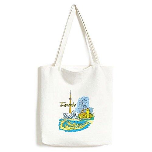 Kanada Geschmack Toronto Landschaft und Landmark Watercolor Muster Modischer Design Canvas Bag Umweltfreundlich Shopper groß Kapazität Einkaufstaschen (Landschaft Bag)