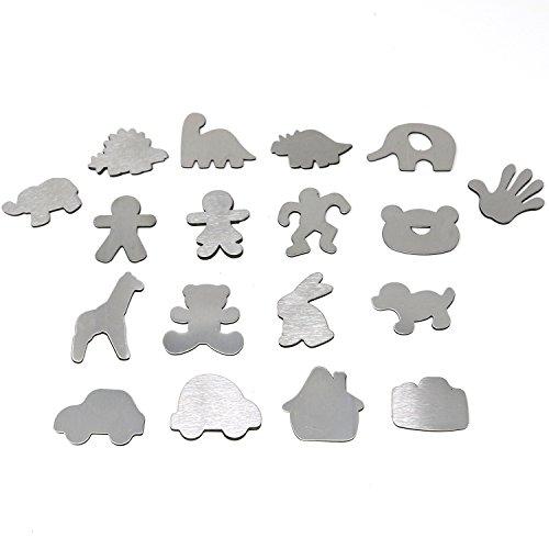 com-four® 18x Kühlschrankmagnete aus Edelstahl, Magnete in verschiedenen Motiven [Auswahl variiert] (18 Stück - Edelstahl) -