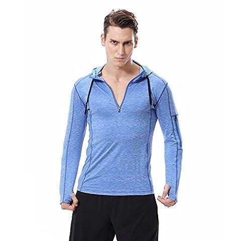 Männer Langarm Pullover Kapuzenpullover Top Mit Pocket Blau