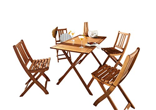SAM® Salon de Jardin Holstebro, 5 pièces, en Bois d'acacia, 1 x Table + 4 x chaises Pliantes, huilé, Ensemble de Meubles de Balcon, certifié FSC® 100%