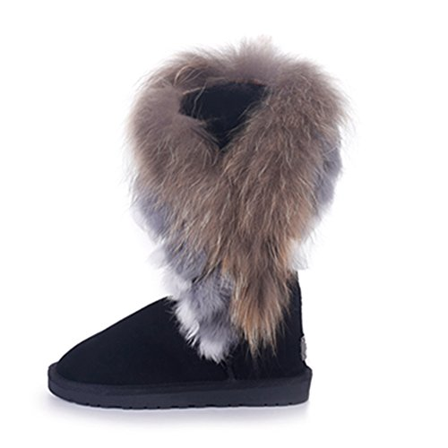 Rismart end Schneestiefel Fell Sn2810 Hälfte Gefüttert Damen 2016 Warm Winter Kundenspezifisch Schwarz Wildleder High Stiefel Stilvoll xrTwrqn
