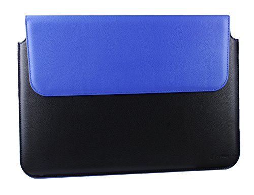 Emartbuy Black/Blue Premium PU Leather Magnetic Folio Wallet Case Cover Sleeve 13.3 Inch - 14.1 Inch Suitable for Devices Listed Below