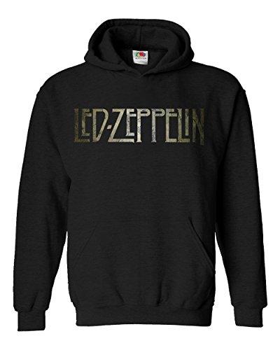 "Felpa Unisex ""Led Zeppelin"" - Texture Logo - Felpa con cappuccio rock band LaMAGLIERIA, XL, Nero"