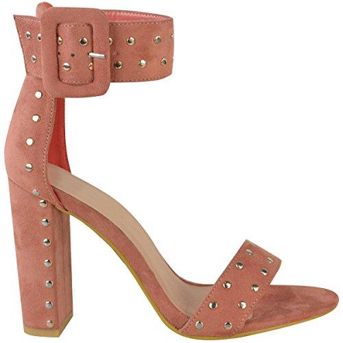 breiter Sandaletten Blockabsatz mit mit Wildlederimitat Pastellrosa Nieten hohem Damen Kn枚chelriemen wqIUFIA