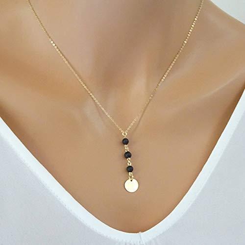 Jmzdaw collana pendente lava nera perline collana pendente donna pietra lavica e paillettes rotonde collana girocollo con aromaterapia