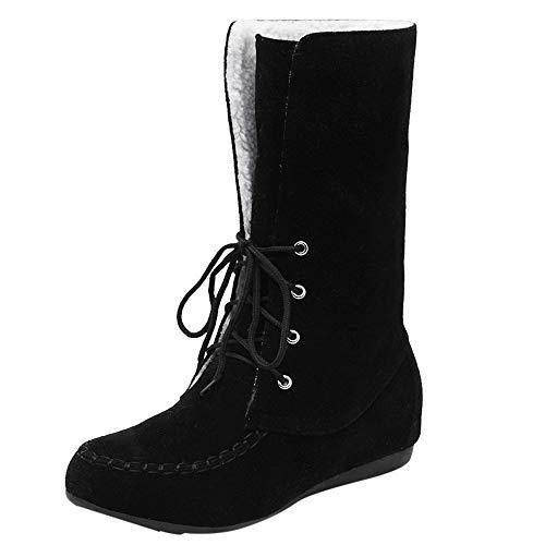 Boot Hiver Femmes, Manadlian Bottes de Neige Doublure en Molleton Thermique Imperméable Hiver Pluie Neige Bottes Boots Chaussures Lacets Chaussons