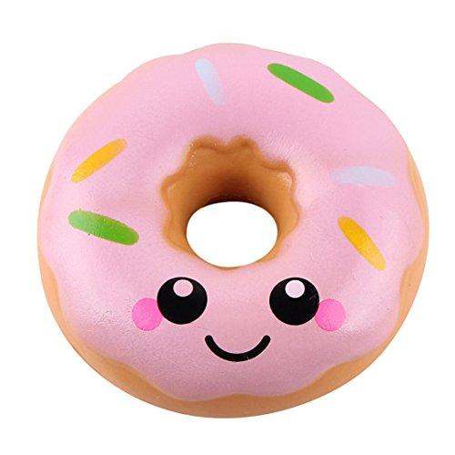 DAY8 jouets bebe fille educatif Donut Squishy Slow Rising Toys jouets bebe garçon Squeeze Jouet de Décompression Stress Relief Toy cadeau garcon Créatif Anti-stress Jouets enfants pas cher (Rose)