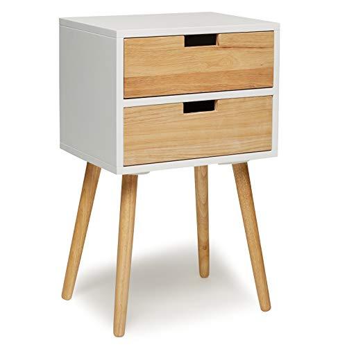 Comodino con 2cassetti bianco legno tavolino consolle tavolino comodino comò moderno scandinavo new look retrò