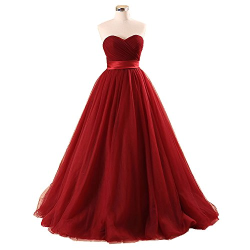 Burgundy-Sweetheart-Neckline-Princeless-Wedding-Dress
