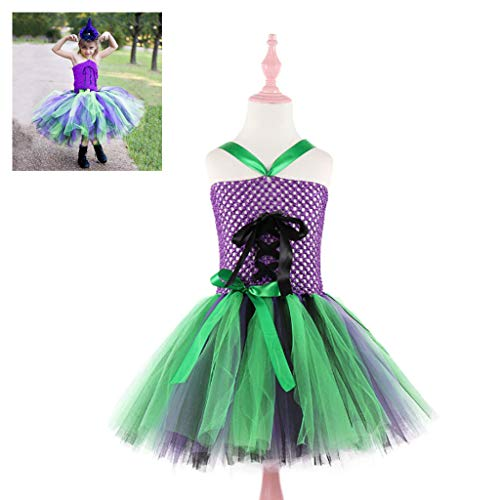 Teen Girl School Kostüm - DONGBALA Halloween-Hexenkostüm, Clown Kostüm Prinzessinenkleid Für Weihnachten Halloween School Play Karneval Cosplay Performance Abendkleid Ohne Stirnband,90cm