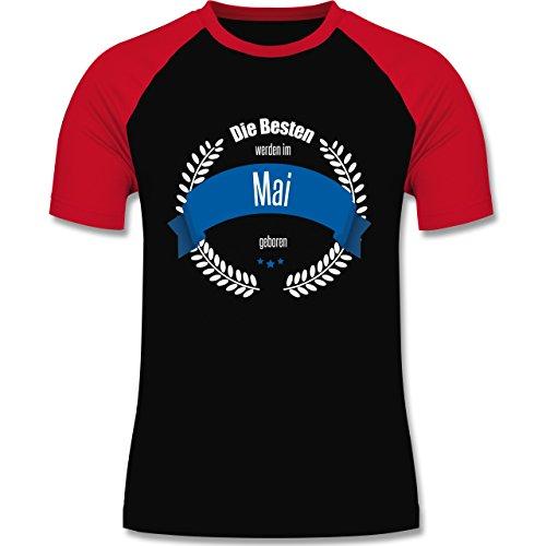 Geburtstag - Die Besten werden im Mai geboren - zweifarbiges Baseballshirt für Männer Schwarz/Rot