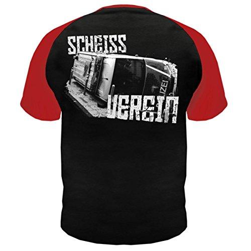 Männer und Herren T-Shirt Antisocial - Scheiss Verein (mit Rückendruck) Schwarz/Rot