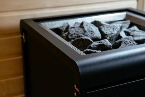Sentiotec Saunaofen Concept R Black 9 KW o. 10,5 KW inkl. Saunasteine Sauna 9 ohne Ofenreling mit Saunasteine