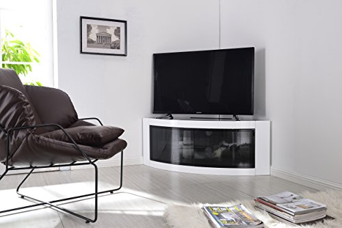 Centurion Supports Meuble TV Pangea Beam-thru incurvé d'angle 81,3 - 139,7 cm blanc