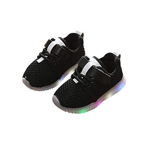 DEBAIJIA Primeros Pasos Zapatos Zapatillas Deportivo Niños, Malla, Zapatos Luminosos LED, Zapatos de Gimnasio Intermitentes, Antideslizante Transpirable, Adecuado para Niña Niño de 1-6 años