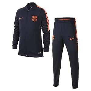 Nike Fcb Y Nk Dry Sqd Trk K, Tuta da Calcio Unisex Bambini, Ossidiana/Ossidiana/Rosso, L
