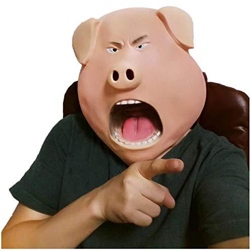 qiaoaoa Niedliche Schwein Tier Latex Masken Halloween Erwachsener Tanz Scary Head Set Party Dekorieren Event Lustiges Gesicht Maskerade Party - Niedliche Kostüm Für Tanz